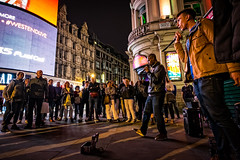 Busking (Fairy_Nuff (new website - piczology.com!)) Tags: music london night audience circus crowd band piccadilly singer busker busking