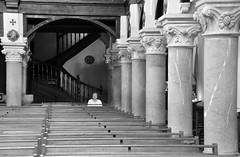 (Jean-Luc Léopoldi) Tags: bw noiretblanc intérieur église piliers bancs femme fidèle paysbasque seule prière catholicisme religion