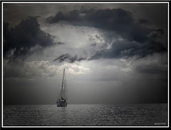 Anchored. (agphoto100) Tags: sail ship boat water sea bay morten rigging photoshop olympus sz16 sandgate brisbane clouds hdr jpg silver cloud sky serene surreal ocean mist outdoor agphoto100