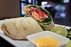 Jerk Salmon Wrap - Jerk Seared Salmon, Grilled Pineapple, Peppers, Onion, Tomatoes, Greens in a Grilled Wrap w/ Chili Garlic Mayo (sheryip) Tags: food foodporn morgantown terra cafe salmon jerk wrap wv