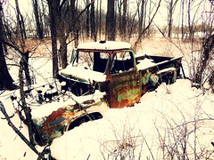 wrong turn... (BillsExplorations) Tags: wrongturn lost abandoned decay forgotten rust old abandonedillinois abandonedtruck snow winter trees ford truck fordtruck truckthursday htt buried