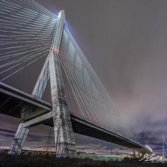 Tangled In Strings (Tim van Zundert) Tags: flintshire bridge architecture flint north wales dee estuary electricity pylons night evening long exposure sony a7r voigtlander 21mm ultron square 1x1