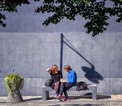 (Dale Michelsohn) Tags: buildings relax sun shade people street canonpowershotg5x sweden stockholm telefonplan students girl boy