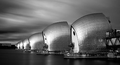 Thames Barrier Mono (Nathan J Hammonds) Tags: london architecture city cityscape monochrome nd 10stop thames barrier protecting long exposure buildings blackwhite d750 movement