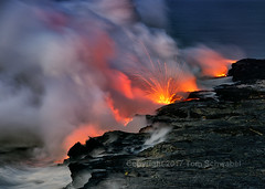 Pele's Fireworks (pdxsafariguy) Tags: hawaii lava ocean steam sparks volcano nature travel hot landscape geology smoke eruption danger heat kilauea water sea adventure usa fire dangerous explosion basalt nationalpark dawn tomschwabel