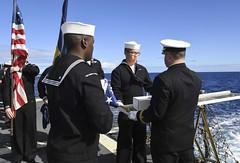 170110-N-RM689-209 (U.S. Pacific Fleet) Tags: usswayneemeyerddg108 wayneemeyer ddg108 burialatsea 21gunsalute urnbearers dressblues westernpacificdeployment rm689 pacificocean