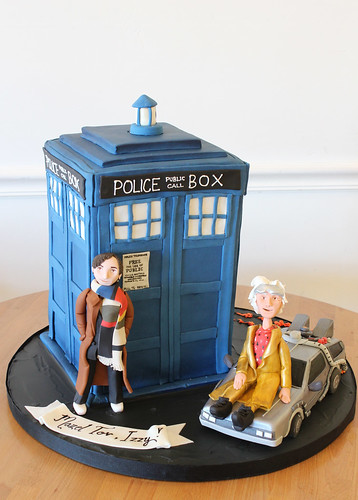 Dr. Who and Back to The Future Cake