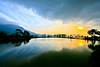 水樣淡水(十二) (686阿鴻) Tags: 黃昏 風景 夕陽 倒影 雲彩 山陵 水田
