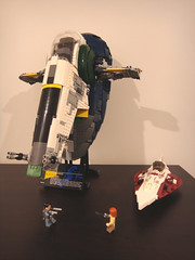 Jedi Starfighter size comparison (E-Why) Tags: obiwan kenobis delta7 aethersprite class light lego starfighter interceptor star wars clone jango fett slavei ucs