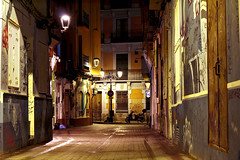 Old street (Daniel Nebreda Lucea) Tags: architecture arquitectura building edificio casa house street calle old vieja antigua casco history historia urban urbano city ciudad zaragoza aragon spain españa europe europa life vida night noche shadows sombras perspctive perspectiva composition composicion travel viajar alone solo dark oscuro darkness oscuridad canon 60d texture textura color lights luces floor suelo stone piedra beautiful bonita art arte exposure long larga exposicion