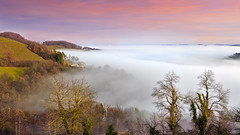 The house and the sea of fog (Bernhard Sitzwohl) Tags: lee filtration landscape nature softgrad outdoor fog hills mountains styria trees farmhouse pink get it camera