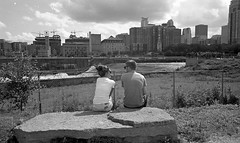 Couple by the Mississippi. Minneapolis. July, 2015 L_M6_11567 (erlin1) Tags: blackandwhite bw usa film analog river mississippi couple downtown sitting july minneapolis visible mn v1 leicam6 2015