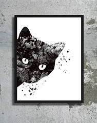 Cat watercolor art print Black cat painting cat poster Halloween decor Halloween watercolor Woman cat print Wall hanging Christmas gift (bogiartprint) Tags: artandcollectibles prints giclee littlecat catwatercolor catposter catpainting christmasgift halloweenart halloweenwatercolor halloweenprint womancat blackcat catillustration horror halloween
