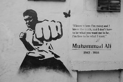 FX302408 (Lawrence Holmes.) Tags: fuji x30 wallart streetart stencil boxing butterfly clay cassius muhammadali sooc blackandwhite black white manchester uk lawrenceholmes