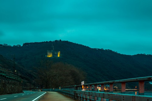 Maus Castle (Burg Maus), village of Wellmich, the Rhine River Valley, Rheiland-Pfalz, Germany
