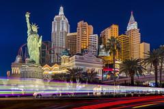 New York New York (clarsonx) Tags: lasvegas nevada newyorknewyork hotel casino taxi cab lighttrail bluehour night dusk twilight cityscape city traffic strip longexposure palmtree