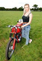 Pretty girl & old Bianchi motorcycle (Fast an' Bulbous) Tags: summer england woman hot sexy classic girl field bike june evening nikon northamptonshire gimp motorcycle oldtimer barton meet earls d7100