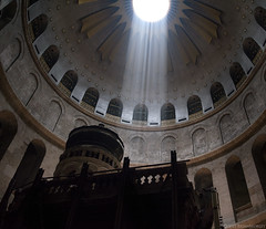 Place of Christ's Burial--Edicule in Church of the Holy Sepulcher (BrianMorley) Tags: israel christ jerusalem oldcity crucifixion gospels newtestament shaftoflight churchoftheholysepulcher oldjerusalem lifeofchrist passionofchrist edicule burialofchrist pentax645zwith35mmlens