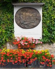 """Alois """"Heirassa"""" Schilliger Plaque, Weggis, Central Switzerland (jag9889) Tags: flowers musician sculpture plaque schweiz switzerland europe suisse suiza swiss luzern alpine svizzera lucerne ch weggis 2015 innerschweiz zentralschweiz centralswitzerland kantonluzern cantonlucerne suizra jag9889 aloisschilliger heirassa 20150613"""