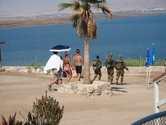 By The deadsea, here there are also soldiers keeping an eye on Israelis!
