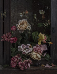 Wunderkammer (Ken Marten) Tags: roses stilllife collage photoshop spider decay web insects beetles oldmaster digitalmanipulation oldroses entopy