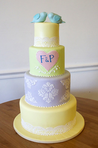 Colorful Lace and Lovebirds Wedding Cake
