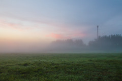 The misty sunrise at a meadow in Central Russia (YuTrof) Tags: russia air blue clear clouds country countryside dawn fog grass grassland greenland herb meadow mist misty morning nature outdoor plain rural sky summer sun sunrise twilight