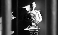 Escultura Palacio de la Granja (Segovia) (alfonsocarlospalencia) Tags: escultura palacio de la granja segovia piedra robado byn sombras veladuras mujer arte belleza pedestal luz hombro ojo misterio columnas busto