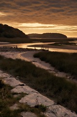 Mud flats (pics by paula) Tags: wales sunset sun sea sand dusk grass path cloud clouds sunlight reflections atmosphere stone uk picsbypaula paula wayne nikon d7000 landscape