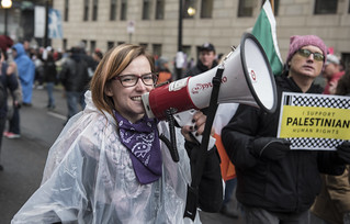 Alli McCracken Leads a Pro-Palestine Protest Outside the Presidential Inauguration of Donald Trump