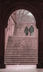 Archway and Stairway At Central Park - Winter Season 2016-2017 (nrhodesphotos(the_eye_of_the_moment)) Tags: dsc0127472winterseason20162017innyc centralpark nyc manhattan season winter reflections shadows outdoor archway people stairway underpass couple lake plantlife waterfront texture