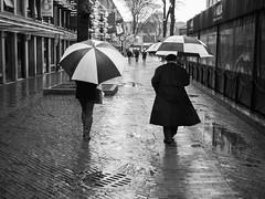 Geometries (votsek) Tags: 2017 lumix boston quincymarket blackandwhite monochrome people street urban rain brick umbrella fourthirds
