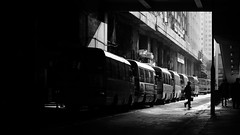 Minibus Station (Wilson Au   一期一会) Tags: pentaxasahismc50mmf14 fujifilmxe2 hongkong kwuntong minibus backlight blackandwhite monochrome 169 silhouette