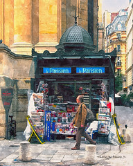Digital Watercolor Painting of a Newsstand in Paris by Charles W. Bailey, Jr. (Charles W. Bailey, Jr., Digital Artist) Tags: newsstand paris france europe photoshop photomanipulation topaz topazlabs topazclarity topazrestyle topazdetail automagiccreativearteffectsgen2 topazlenseffects alienskin alienskinsoftware alienskinexposure watercolor watercolorpainting painting art fineart visualarts digitalart artist digitalartist charleswbaileyjr