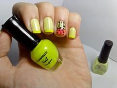 12 meses, 12 esmaltes: DEZEMBRO. (Raíssa S. (:) Tags: esmalte unhas nails carimbo stamping green verde lime neon cremoso dote kleancolor pink nailpolish naillacquer nailart