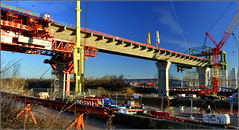 Mersey Gateway Project (Southern Approach Viaduct,Runcorn) 20th January 2017 (Cassini2008) Tags: merseygatewayproject rubricabridgeswingtraveller bridgeconstruction manchestershipcanal
