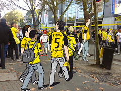 Erste Tests frs Fussballmuseum Wimmelbild (Diana Khne Illustration | dianakoehne.de) Tags: illustration football drawing soccer fans dortmund supporters fusball skizze skizzenbuch fusballmuseum