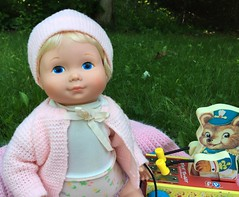 Baby Beth and her pull toy (Foxy Belle) Tags: mandy bear pink baby hat price vintage toy pull sweater doll beth jenny fisher knitted freind