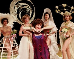 "Vicki Lewis (front, center) as Fanny Brice with Ziegfeld Girls Kolina Janneck, Merrill West, Nikki Della Penta and Alexa Glover in the 2010 Music Circus production of ""Funny Girl"" at the Wells Fargo Pavilion August 10-15, 2010. Photo by Charr Crail."