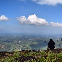 Enjoying the view from the top of the hill (discovervarma) Tags: city cliff india mountain clouds trekking nikon kerala wayanad carride chembrapeak weekendtrips kalpetta d5300 heartshapelake