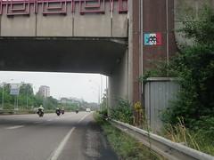 Space Invader BSL_24 (tofz4u) Tags: bridge blue red white streetart bike tile rouge schweiz switzerland highway suisse mosaic flag spaceinvader spaceinvaders basel bleu moto pont invader autoroute svizzera bale blanc drapeau basle mosaque motobike artderue basilea bsl24