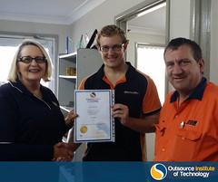 Ryan Swift receiving his Certificate III in Engineering - Technical