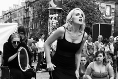 Edinburgh Fringe on the Mile 2015 048 (byronv2) Tags: street blackandwhite bw woman hot sexy girl monochrome beautiful festival mirror scotland blackwhite edinburgh slim boobs candid blonde royalmile cleavage performer oldtown edinburghfestival littleblackdress downblouse edimbourg edinburghfringe festivalfringe edinburghfestivalfringe fringe2015 edinburghfestivalfringe2015