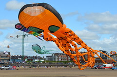 Orange Kite (Tony Worrall Foto) Tags: show county uk england sky orange holiday color beach festival fun happy coast fly flying high stream colours tour open place air country north visit location kites resort event area colourful northern update stannes attraction fylde entertaiment fyldecoast stanneskitefestival welovethenorth 2015tonyworrall