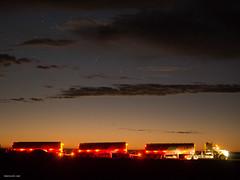 Road train at dawn