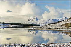 Suilven_7387 [Explored] (The Terry Eve Archive) Tags: suilven reflection reflected loch scotland nikon d3100 calm mirrorcalm flat terryevephotography ice snow rock water munroe lochborralan nwscotland