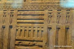 Decorations on a tomb relief (konde) Tags: 4thdynasty oldkingdom tombrelief limestone falsedoor nibunesut dendera ancient hieroglyphs