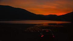 while waiting at night. (adnangler) Tags: night sky sunset lake lakeside cloud dark sadness light orange car reflection mountains yedigöller bolu autumn