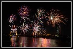 Fireworks_7293 (bjarne.winkler) Tags: 2016 new year evening pre fireworks 9pm backdrop tower bridge ziggurat calstrs building sacramento river ca
