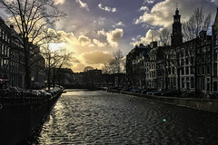 Keizersgracht canal, view towards Westermarkt (Terekhova) Tags: amsterdam netherlands westerkerk westermarkt church jordaan clouds